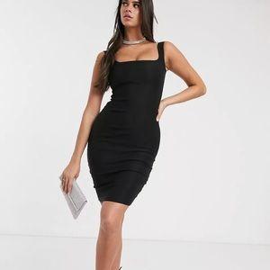 Vesper Square Neck Pencil Dress in Black